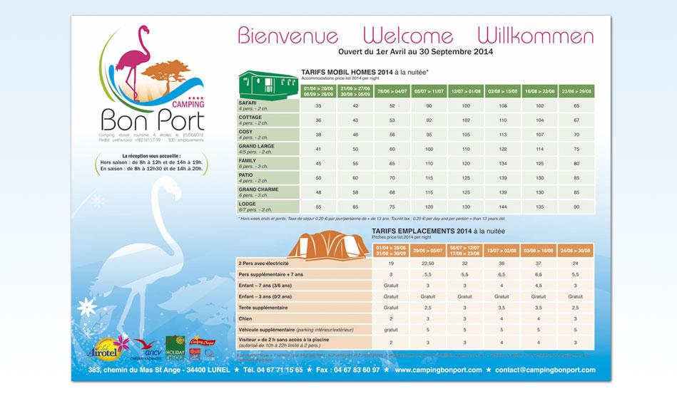 Panneau tarifs du Camping Bon Port