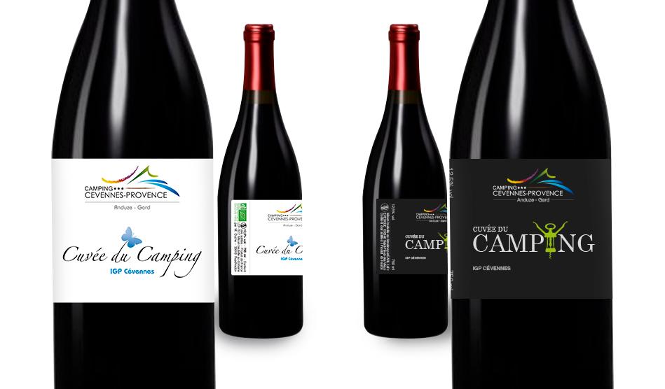 CAMPING CP etiquettes de vin