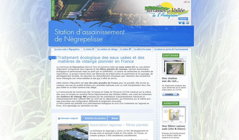 Page d'accueil du site dédiée à la STEP de la CCTVA