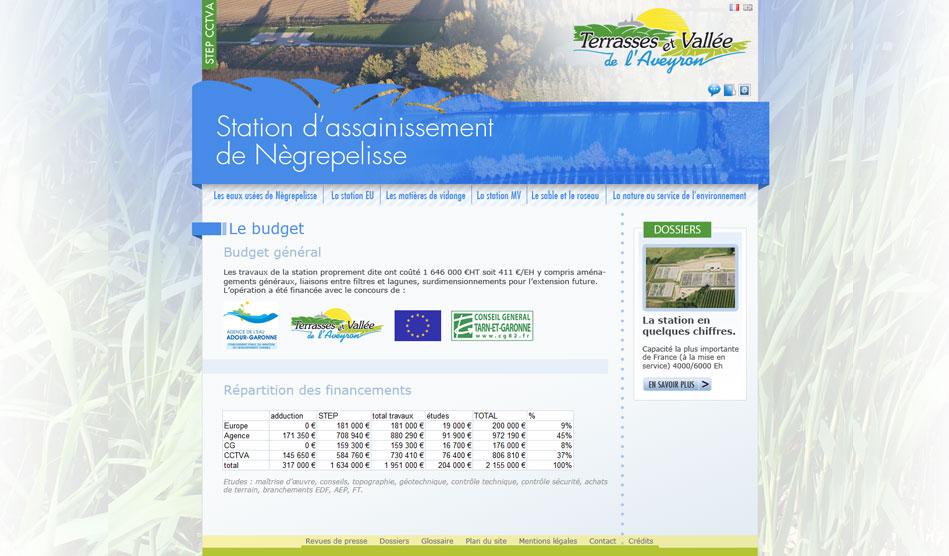 Page du site dédiée à la STEP de la CCTVA