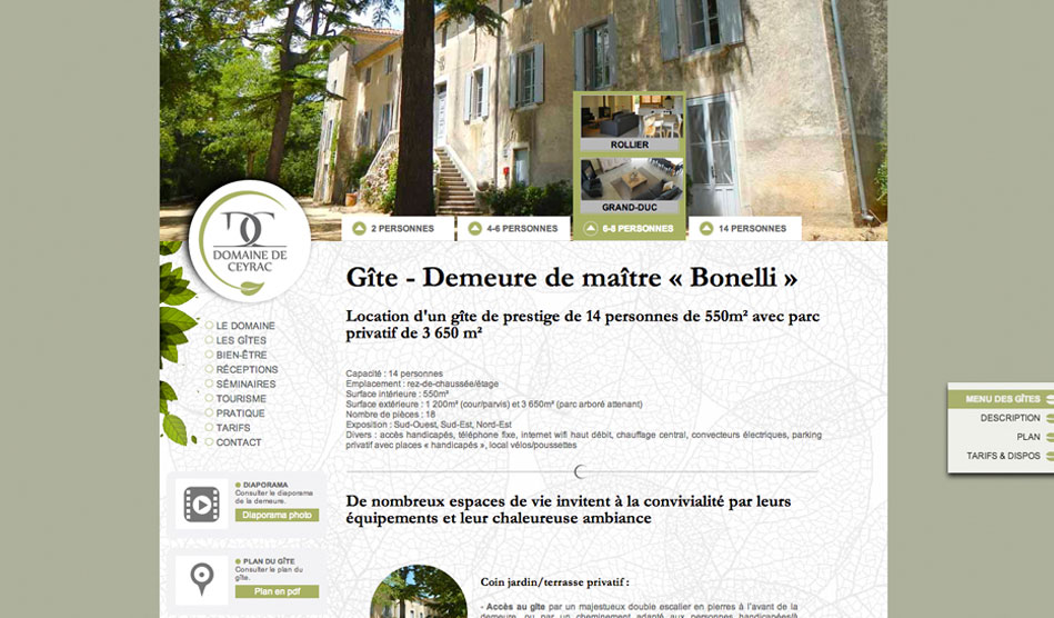 Pages du site du Domaine de Ceyrac