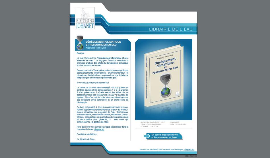 Emailing pub pour promouvoir un ouvrage édité par les Editions Johanet