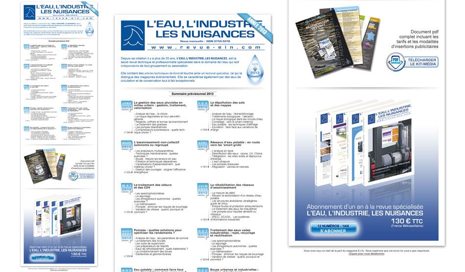 """Lettre d'information pour la revue """"L'eau, l'industrie et les nuisances"""" éditée par les Editions Johanet"""