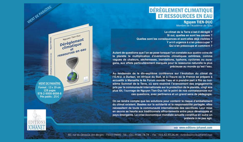 """Annonce-presse de l'ouvrage """"Dérèglement climatique et ressources en eau"""" - Editions Johanet"""