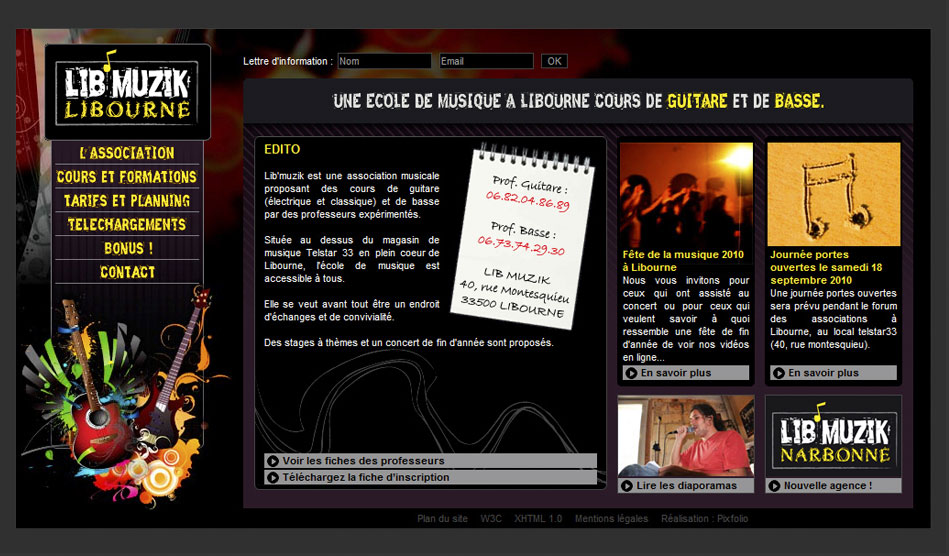 Site internet de Lib'Muzik