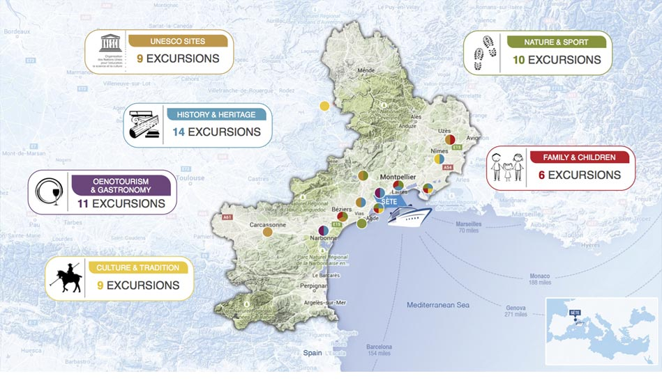 Carte des excursions du book de Sete cruise club