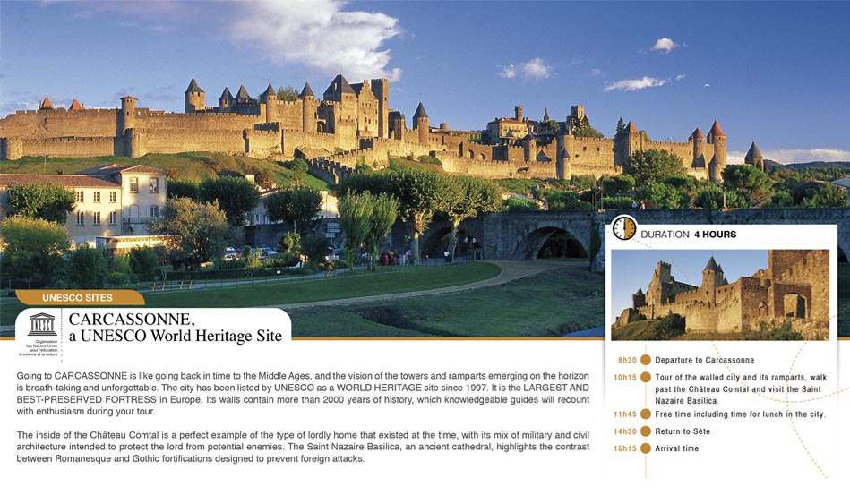 Fiche détail de l'excursion à Carcassonne du book de Sete cruise club