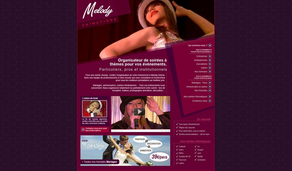 Page d'accueil du site de Melody Animations