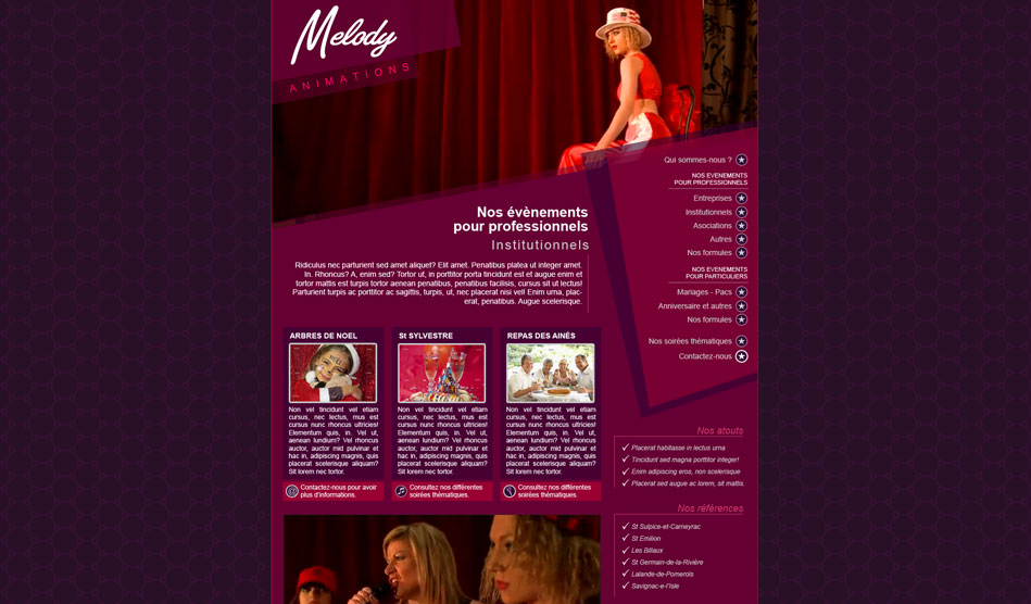 Page du site de Melody Animations