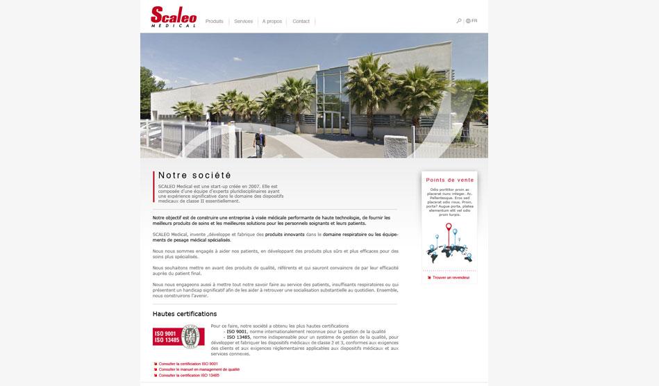 Page informative du site de Scaleo