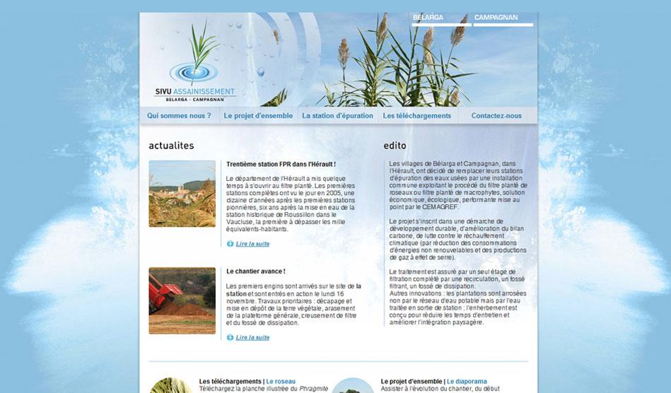 Site internet du sivu assainissement Bélarga-Campagnan