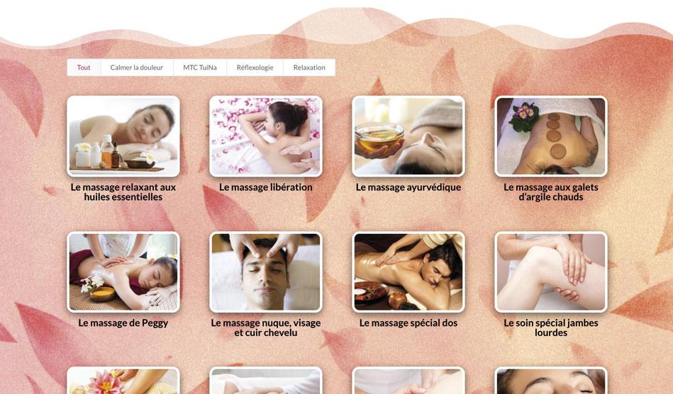 Page massages et soins de Connexion-Zen