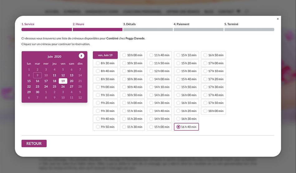 Système de réservation de rendez-vous pour massages sur le site Connexion-Zen